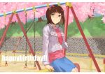 1girl amami_haruka arm_support bangs blue_skirt blush bow breasts brown_hair day eyebrows_visible_through_hair green_eyes grey_jacket hair_bow happy_birthday idolmaster idolmaster_(classic) jacket jyon long_sleeves looking_up medium_breasts medium_skirt open_clothes open_jacket outdoors pink_bow pink_shirt shirt short_hair sitting skirt solo