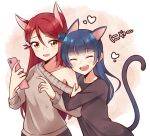2girls ^_^ animal_ears arm_hug bangs beige_sweater black_shirt blue_hair cat_ears cat_tail cellphone ceph_(greatyazawa1819) closed_eyes closed_eyes commentary fang fox_ears hair_ornament hairclip heart holding holding_phone kemonomimi_mode long_hair long_sleeves love_live! love_live!_sunshine!! multiple_girls nyan off-shoulder_sweater open_mouth phone redhead sakurauchi_riko shirt side_bun smartphone smile sweatdrop sweater symbol_commentary tail tsushima_yoshiko upper_body