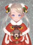 bell blue_eyes capelet christmas doll gloves long_hair looking_at_viewer mistletoe murata_renji reindeer santa_costume smile snow twintails