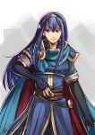 1girl armor blue_hair breastplate cape fingerless_gloves fire_emblem fire_emblem:_ankoku_ryuu_to_hikari_no_tsurugi fire_emblem:_monshou_no_nazo fire_emblem:_shin_ankoku_ryuu_to_hikari_no_tsurugi fire_emblem:_shin_monshou_no_nazo gloves intelligent_systems long_hair looking_at_viewer marth marth_(cosplay) nintendo pauldrons sheeda smile solo