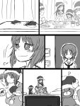 +++ 5girls =3 afterimage akiyama_yukari bandage bangs blouse blunt_bangs boko_(girls_und_panzer) christmas clapping clenched_hand closed_mouth comic cup drinking drinking_glass eyebrows_visible_through_hair flashback food frown girls_und_panzer greyscale grin hat indoors isuzu_hana laughing light_blush long_hair long_sleeves monochrome motion_lines multiple_girls neckerchief nishizumi_miho notice_lines noumen ooarai_school_uniform open_mouth pajamas pants reizei_mako santa_hat school_uniform serafuku shirt short_hair sigh silent_comic sitting smile stuffed_animal stuffed_toy table takebe_saori teddy_bear