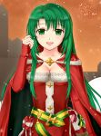 1girl :d belt bow breasts cape cecilia_(fire_emblem) christmas cleavage collarbone detached_sleeves dress english_text fire_emblem fire_emblem:_fuuin_no_tsurugi fire_emblem_heroes fur_trim green_eyes green_hair hand_in_hair long_hair long_sleeves medium_breasts merry_christmas nintendo open_mouth outdoors pazuzu438 ribbon santa_costume smile snowing solo star strapless strapless_dress twilight upper_body