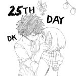 1boy 1girl boku_no_hero_academia closed_eyes coat commentary couple dailykrumbs english_commentary freckles hand_on_another's_face highres imminent_kiss looking_at_another midoriya_izuku mistletoe monochrome official_style scarf short_hair signature upper_body uraraka_ochako winter_clothes winter_coat