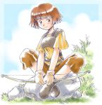 boots bow_(weapon) brown_eyes brown_hair cloud clouds crossed_legs dorothy_(fire_emblem) fire_emblem fire_emblem:_fuuin_no_tsurugi fire_emblem_fuuin_no_tsurugi grass indian_style legs_crossed lowres mizuna_tomomi rock short_hair sitting sky weapon