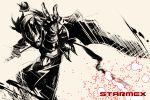 armor beige helmet mask monochrome sword tomoyuki_kotani weapon