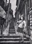 black_hair dragon hat highres monochrome perspective shorts stairs yoshitoshi_abe