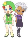 blue_eyes child crossover dark_skin esaka genderswap hat hong_meiling if_they_mated king_of_fighters krizalid m.u.g.e.n red_hair redhead short_hair silver_hair touhou young