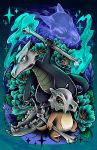 alolan_form alolan_marowak bone creature creatures_(company) cubone evolution fire flame flower full_body game_freak gen_1_pokemon ghost green_eyes highres holding holding_bone looking_at_viewer looking_away marowak nintendo no_humans pokemon pokemon_(creature) retkikosmos skull_helmet sparkle standing watermark web_address