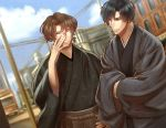 2boys adjusting_eyewear black_hair black_kimono blue_sky brown_hair brown_hakama building car city clouds crossed_arms day glasses ground_vehicle hakama hand_on_hip hand_up izumi_(stardustalone) japanese_clothes kimono motor_vehicle multiple_boys original outdoors power_lines sky smile