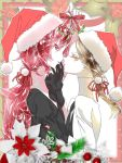 2others androgynous brown_hair christmas colored_eyelashes crystal_hair easty face-to-face gem_uniform_(houseki_no_kuni) gloves hair_ribbon hat houseki_no_kuni labcoat long_hair looking_at_viewer mistletoe multiple_others necktie padparadscha_(houseki_no_kuni) ponytail red_eyes redhead ribbon rutile_(houseki_no_kuni) santa_hat short_hair upper_body white_skin yellow_eyes