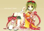 1girl anzu_(o6v6o) bangs beige_background boots brooch character_name commentary_request expressionless goggles goggles_on_head green_eyes green_hair gumi hand_on_headphones headset jewelry knee_boots knees_up looking_at_viewer musical_staff_print neck_ribbon orange_vest pointing pointing_at_self print_ribbon red_ribbon ribbon short_hair_with_long_locks sitting skirt solo staff_(music) thigh_strap vocaloid white_footwear white_ribbon wrist_cuffs yellow_skirt