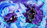 black_eyes cloyster commentary commission creature creatures_(company) english_commentary evolution full_body game_freak gen_1_pokemon grin ice nintendo no_humans outdoors pokemon pokemon_(creature) retkikosmos shellder sky smile tongue tongue_out water watermark waves web_address