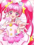 1girl :d ahoge character_name choker cowboy_shot cure_star dress earrings hoshina_hikaru jewelry kagami_chihiro long_hair looking_at_viewer magical_girl open_mouth outstretched_hand pink_eyes pink_hair pink_neckwear planet_hair_ornament precure shiny shiny_skin smile solo star star_choker star_in_eye star_twinkle_precure symbol_in_eye twintails white_dress