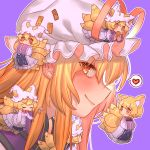 6+girls animal_ear_fluff animal_ears apron blonde_hair blush bright_pupils closed_eyes closed_mouth dress fox_ears fox_tail hands_in_opposite_sleeves hat hat_ribbon heart highres holding ladle long_hair looking_at_viewer masanaga_(tsukasa) minigirl mob_cap multiple_girls multiple_persona multiple_tails no_hat no_headwear ofuda orange_eyes pillow_hat profile purple_background red_ribbon ribbon short_hair simple_background smile spoken_heart tabard tail tassel touhou white_dress white_hat yakumo_ran yakumo_yukari