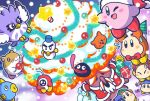 backwards_hat baseball_cap beanie bell blue_hat bow bowtie chilly_(kirby) commentary_request coo_(kirby) flying_sweatdrops gift gooey hat kine_(kirby) kirby kirby_(series) nintendo no_humans official_art red_neckwear rick_(kirby) scarfy sweatdrop video_camera waddle_dee whispy_woods