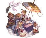 1girl :3 alternate_costume animal_ears bare_shoulders blonde_hair blush_stickers boots braid brown_eyes cherry_blossoms claws cup detached_sleeves dog dog_ears dog_tail erune floral_print flower frills fur_trim garjana granblue_fantasy green_tea hat japanese_clothes kimono legs_crossed minaba_hideo nail_polish obi official_art oriental_umbrella puppy sash scarf see-through short_hair sitting tail tea transparent_background tree_branch umbrella vajra_(granblue_fantasy)