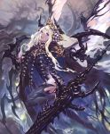 1girl :d artist_request carapace claws cloak cygames feathered_wings gold_trim hair_ornament holding holding_sword holding_weapon horns huge_weapon leg_lift long_hair looking_at_viewer official_art open_mouth shadowverse smile sword very_long_hair violet_eyes weapon white_hair wings zebet_lady_of_the_flies
