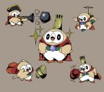 antique_firearm avian bird blunderbuss boxing_gloves cannonball cape creatures_(company) crown firearm game_freak gen_7_pokemon gun king_k._rool meka_(77111994) nintendo pokemon pokemon_(game) pokemon_sm rowlet weapon