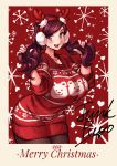 1girl antlers beryl_(junkpuyo) breasts christmas christmas_sweater earmuffs happy highres junkpuyo large_breasts long_hair looking_at_viewer original short_twintails smile solo sweater tagme twintails