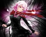 1girl black_dress blue_eyes dress floating_hair guilty_crown head_tilt long_hair long_sleeves looking_at_viewer parted_lips pink_hair red_scarf saiki2 scarf short_dress solo standing yuzuriha_inori