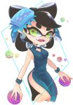 +_+ aori_(splatoon) black_hair blue_dress blue_hair china_dress chinese_clothes cleavage_cutout domino_mask dress earrings fang food food_on_head green_eyes highres jewelry looking_at_viewer mask mole mole_under_eye multicolored_hair object_on_head okome_2g2g pointy_ears side_slit splatoon_(series) tentacle_hair thighs