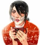 1girl alternate_hairstyle black_hair black_nails brown_eyes casual christmas christmas_sweater coffee_mug commentary cup english_commentary extra_teeth eyelashes hair_bun hair_over_one_eye highres lips lipstick looking_at_viewer makeup mileena monster_girl mortal_kombat mug nail_polish nose parted_lips portrait red_sweater rgbvscb sharp_teeth solo sweater teeth white_background
