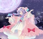 1girl arms_up bangs clouds commentary_request crescent crescent_hair_ornament dress eyelashes feet_out_of_frame frills hair_blowing hair_ornament hair_ribbon hat hexagram ibashi_roni long_hair long_sleeves looking_away looking_to_the_side magic_circle mob_cap octagram outstretched_arms parted_lips patchouli_knowledge petals pink_robe purple_hair ribbon sidelocks sky solo spread_arms standing star_(sky) starry_sky striped striped_dress swept_bangs touhou tress_ribbon very_long_hair violet_eyes wind wind_lift