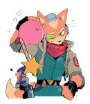 3boys bird bluebird blush falco_lombardi fingerless_gloves fox fox_mccloud game_console gloves green_eyes grumpy gun handheld_game_console happy kirby kirby_(series) kokusoji laser_beam looking_at_another looking_away male_focus multiple_boys nintendo nintendo_switch pilot pilot_suit pilot_uniform red_scarf scarf scouter simple_background smile star_fox super_smash_bros. upper_body weapon white_background