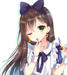 1girl ;p alice_(wonderland) alice_(wonderland)_(cosplay) alice_in_wonderland apron bang_dream! black_neckwear blue_bow blue_nails bow brown_hair cookie cosplay drop_shadow earrings finger_licking food green_eyes hair_bow hanazono_tae hand_to_own_mouth holding holding_cookie holding_food jewelry licking long_hair looking_at_viewer nail_polish nameneko_(124) neck_ribbon one_eye_closed ribbon solo striped_sleeves tongue tongue_out upper_body white_apron wrist_cuffs