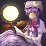 1girl blush book breasts capelet crescent desk desk_lamp dress eyelashes hat hat_ornament highres holding holding_book lamp light_smile long_dress long_hair looking_at_viewer medium_breasts mob_cap patchouli_knowledge purple_hair sitting solo striped striped_dress touhou violet_eyes yayoimaka03