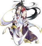 1boy armor black_hair blood full_body hakama hat injury japanese_armor japanese_clothes kiwame_(touken_ranbu) male_focus official_art ootachi ponytail sandals shide shoulder_armor smile sode sword tabi tarou_tachi torn_clothes touken_ranbu transparent_background uehara_(higanbachi) weapon yellow_eyes
