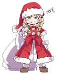 1girl angry bag blonde_hair blue_eyes bracelet braid christmas dragon_quest dragon_quest_xi earrings full_body gloves hat ixy jewelry long_hair looking_at_viewer lowres santa_costume santa_hat simple_background solo twin_braids veronica_(dq11) white_background