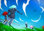 5others absurdres androgynous aqua_hair blue_sky clouds crystal_hair elbow_gloves from_below gem_uniform_(houseki_no_kuni) gloves goshenite_(houseki_no_kuni) grass highres houseki_no_kuni long_hair morganite_(houseki_no_kuni) multiple_others necktie outdoors outstretched_arm padparadscha_(houseki_no_kuni) phosphophyllite pink_hair redhead scenery shinsha_(houseki_no_kuni) short_hair silver_hair sky sword weapon white_hair white_skin