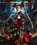 1girl ammunition_belt artist_request bare_shoulders bracer brown_hair canister cityscape closed_eyes cygames dress frilled_dress frills gun hair_ornament hand_on_own_cheek ilmisuna_arms_dealer jewelry long_hair official_art ribbon ring shadowverse shoulder_cutout smile twintails weapon