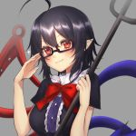 1girl adjusting_eyewear ahoge asymmetrical_wings bespectacled black-framed_eyewear black_hair black_shirt blue_wings blush bow breasts fang glasses grey_background head_tilt highres houjuu_nue looking_at_viewer medium_breasts pointy_ears polearm red_bow red_eyes red_wings semi-rimless_eyewear shirt short_hair solo touhou trident under-rim_eyewear weapon wings yayoimaka03