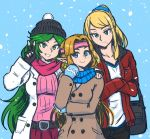 3girls akairiot aqua_eyes bag bangs beanie belt black_bag blonde_hair blue_background blue_eyes blue_scarf breasts christmas coat collarbone crossed_arms dress fingerless_gloves gloves goddess green_eyes green_hair hat highres jacket kid_icarus kid_icarus_uprising large_breasts long_hair long_sleeves looking_at_viewer mole mole_under_mouth multiple_girls nintendo open_clothes open_coat open_jacket palutena parted_lips pink_scarf pointy_ears ponytail princess_zelda red_jacket samus_aran scarf simple_background smile snowing super_smash_bros. super_smash_bros._ultimate sweater swept_bangs the_legend_of_zelda the_legend_of_zelda:_a_link_between_worlds tiara v very_long_hair white_background white_coat winter_clothes