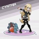 1girl belt blonde_hair boots creatures_(company) game_freak gen_4_pokemon gible highres nintendo poke_ball pokemon pokemon_(game) pokemon_dppt shirona_(pokemon) shorts solo thegraffitisoul torn_clothes torn_legwear younger