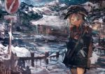 1girl absurdres alternate_costume blue_eyes commentary earmuffs eyebrows_visible_through_hair flat_cap hair_between_eyes hat hibiki_(kantai_collection) highres kaamin_(mariarose753) kantai_collection medium_request mountainous_horizon narrowed_eyes pleated_skirt scarf sign skirt snow snowing solo stop_sign white_hair