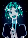 1other absurdres androgynous aqua_eyes aqua_hair colored_eyelashes crystal_hair gem_uniform_(houseki_no_kuni) green_eyes green_hair hands_clasped happy highres houseki_no_kuni looking_at_viewer necktie open_mouth own_hands_together phosphophyllite short_hair smile solo upper_body