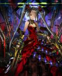 1girl ammunition_belt artist_request bracer brown_hair canister choker cygames dress evil_smile floating_weapon frilled_dress frills glowing glowing_eye gun holding holding_gun holding_weapon ilmisuna_arms_dealer jewelry long_hair looking_at_viewer official_art one_eye_closed red_pupils ring shadowverse smile twintails weapon