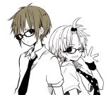2boys :d adjusting_eyewear anzu_(o6v6o) back-to-back bangs_pinned_back collared_shirt frown glasses gumiya kagamine_len looking_at_viewer male_focus monochrome multiple_boys necktie open_mouth print_neckwear shirt short_sleeves smile star star_print sweatband upper_body v-shaped_eyebrows vocaloid wristband