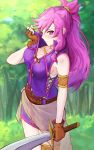 1girl armlet artist_name bare_shoulders breasts brown_gloves cleavage closed_mouth dress fingerless_gloves fire_emblem fire_emblem:_seima_no_kouseki gloves highres holding holding_sword holding_weapon ippers long_hair marica_(fire_emblem) medium_breasts nintendo ponytail purple_hair short_dress sleeveless solo sword tree violet_eyes weapon