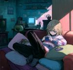 1girl bangs black_pants blanket blonde_hair blue_eyes blue_legwear book cactus chair clock commentary_request computer couch cup game_boy_advance handheld_game_console highres light_rays looking_down mug notes office_chair original pants pillow plant poster_(object) potted_plant print_legwear shelf sho_(sho_lwlw) short_hair sitting slouching solo striped striped_sweater stuffed_animal stuffed_toy sweater table teddy_bear television trash_can
