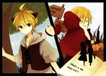 1boy 1girl adjusting_hood animal_ears antenna_hair anzu_(o6v6o) apple basket black_border blonde_hair book border brother_and_sister capelet commentary_request crying english_text food frown fruit grey_hoodie hand_holding hetero hood hooded_capelet incest kagamine_len kagamine_rin multiple_views ookami_wa_akazukin_ni_koi_wo_shita(vocaloid) open_book red_capelet road_sign short_ponytail short_sleeves siblings sign silhouette sweatdrop tree twincest twins vest vocaloid wolf_ears