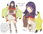 1girl cape dragon_girl dragon_wings dress english_text fire_emblem fire_emblem:_seima_no_kouseki fire_emblem_heroes full_body highres jivke long_hair looking_at_viewer mamkute multi-tied_hair myrrh nintendo older purple_hair red_eyes sandals simple_background smile solo twintails white_background wings