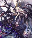 1girl :d animal artist_request bug carapace claws cloak cygames feathered_wings fly giant_insect gold_trim hair_ornament holding holding_sword holding_weapon horns huge_weapon insect leg_lift long_hair looking_at_viewer official_art open_mouth oversized_animal shadowverse smile sword thigh-highs very_long_hair violet_eyes weapon white_hair wings zebet_lady_of_the_flies