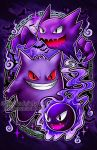 abstract_background bat black_eyes chains clouds commentary creature creatures_(company) english_commentary evil_smile evolution fangs flying full_body game_freak gastly gen_1_pokemon gengar ghost grin haunter looking_at_viewer nintendo no_humans pokemon pokemon_(creature) purple purple_background red_sclera retkikosmos sharp_teeth smile teeth watermark web_address