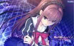 1girl official_art redhead ribbon school_uniform shishigatani_ushio tokeijikake_no_ley_line urabi_(tomatohouse)