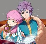 1boy 1girl blonde_hair blue_eyes blue_hair book brother_and_sister closed_mouth crossed_arms earrings fire_emblem fire_emblem_heroes gradient_hair grey_background gunnthra_(fire_emblem) haru_hikoya hrid_(fire_emblem_heroes) jewelry long_hair long_sleeves multicolored_hair nintendo open_book parted_lips pink_hair short_hair siblings silver_hair simple_background snowflakes spiky_hair