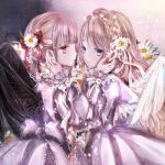 2girls album_cover angel_and_devil bangs bat_wings black_wings blue_eyes braid brown_hair commentary_request cover crown_braid daisy dress eye_contact face-to-face flower frilled_sleeves frills hair_flower hair_ornament hair_ribbon hands_on_another's_face himemurasaki light_frown long_hair long_sleeves looking_at_another multiple_girls original purple_dress red_eyes red_ribbon ribbon sleeve_ribbon striped striped_ribbon twin_braids very_long_hair white_flower white_ribbon white_wings wings yuri